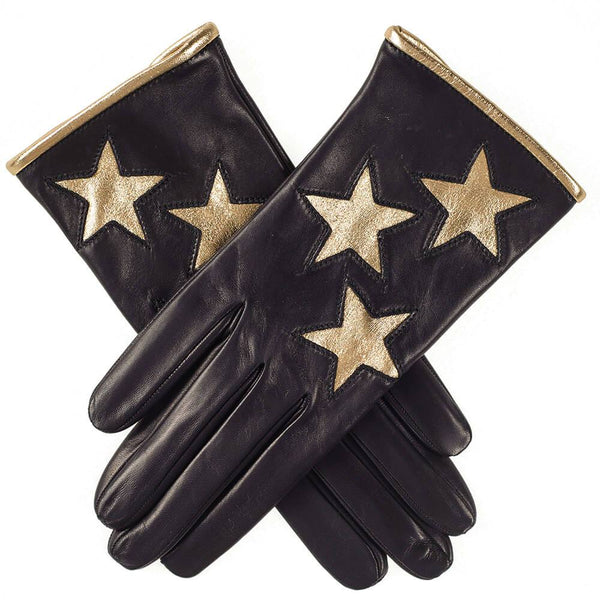 Ladies' Gold Stars Italian Black Leather Gloves