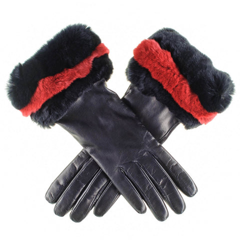 Black Leather Gloves with Red and Black Fur Cuff