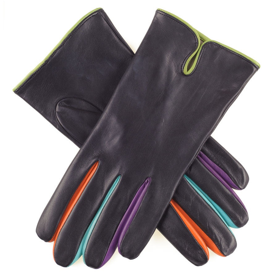 Black leather gloves with coloured fingers - Black Leather Gloves With Coloured Fingers 1