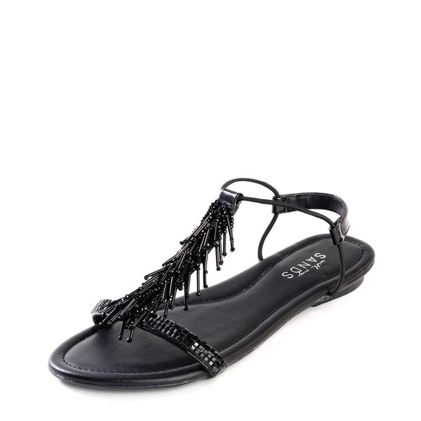 Black Frou Frou Embellished Leather Sandals