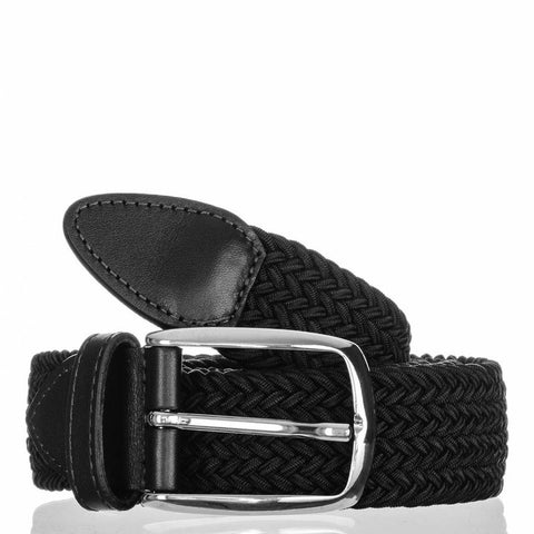 Black Leather Trimmed Woven Belt