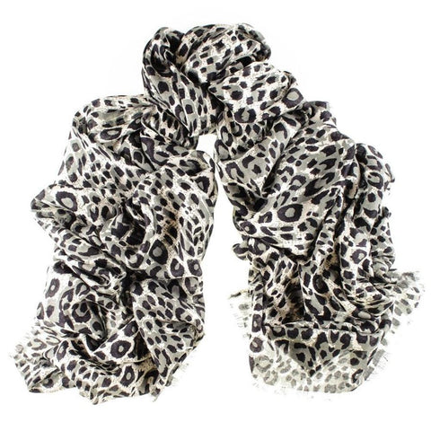 Black Leopard Print Silk and Merino Wool Scarf