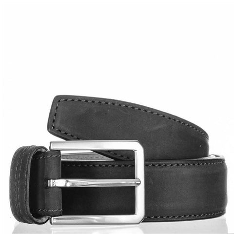 Black Italian Nubuck Calf Leather Belt