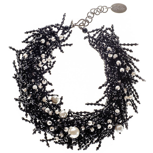 Black Onyx and Fresh Water Pearl Bib Necklace