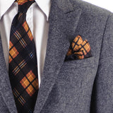 Atrani Black Check Silk Pocket Square