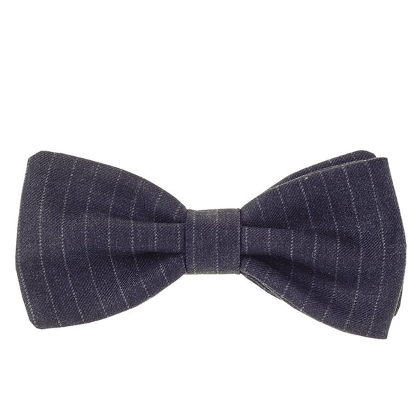 Anthracite Pin Stripe Wool Bow Tie