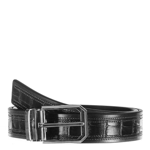 Black Italian Textured Calf Leather Belt