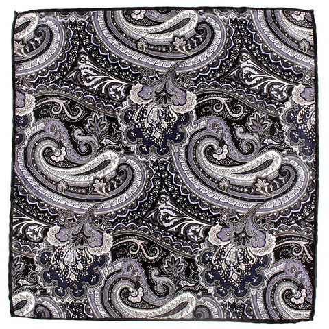 Idro Italian Silk Satin Paisley Pocket Square