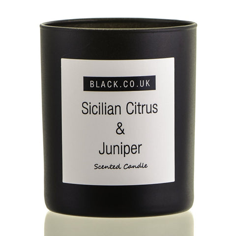Sicilian Citrus and Juniper Scented Candle - Black Glass