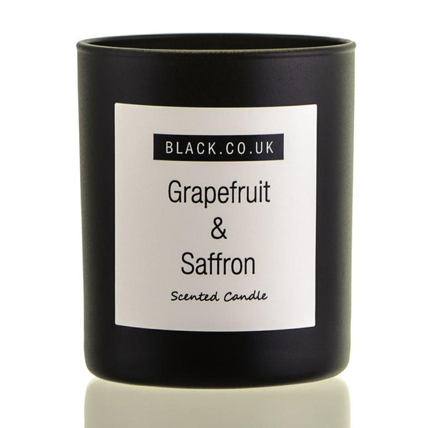 Grapefruit and Saffron Scented Candle - Black Glass
