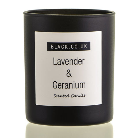 Lavender and Geranium Scented Candle - Black Glass