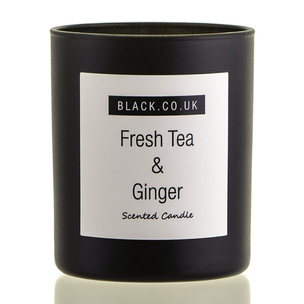 Fresh Tea and Ginger Scented Candle - Black Glass