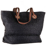 Oversize Black Woven  Straw Beach Bag