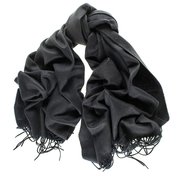 Oversize Black and Charcoal Stripe Cashmere Blanket Scarf