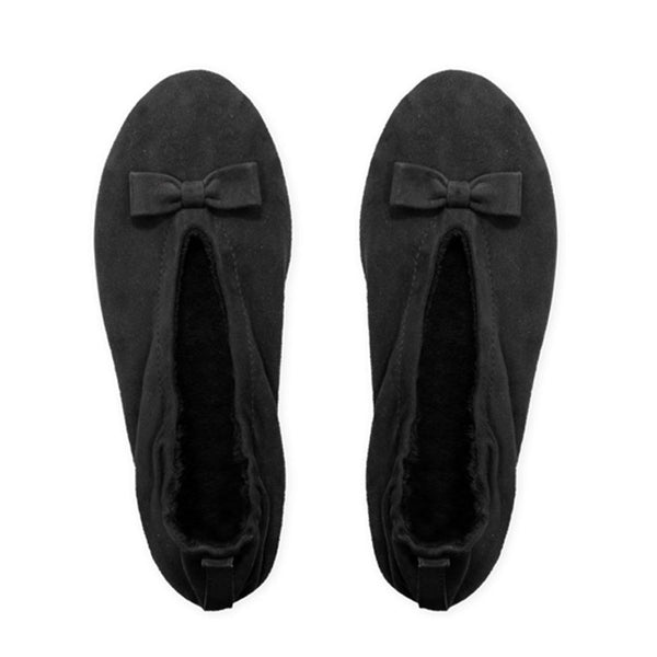 Black Suede Ballerina Slippers