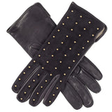 Ladies Black Suede and Leather Gloves with Studs