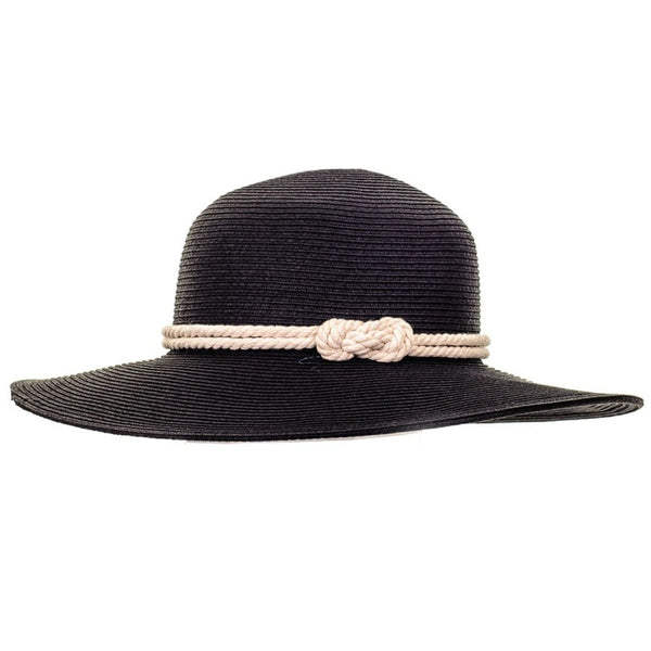 Black Rope Trimmed Sun Hat
