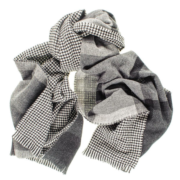 Houndstooth and Tartan Reversible Merino and Cashmere Scarf
