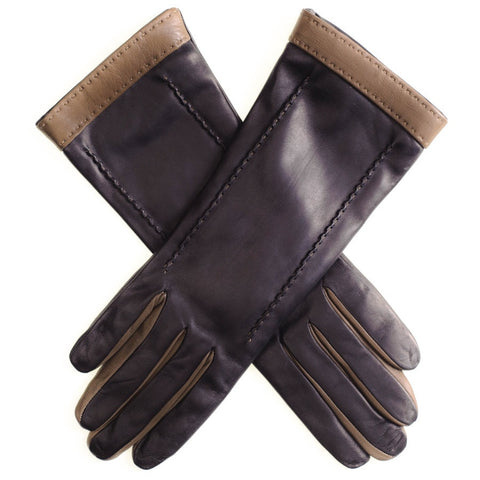 Black and Taupe Musketeer Leather Gloves
