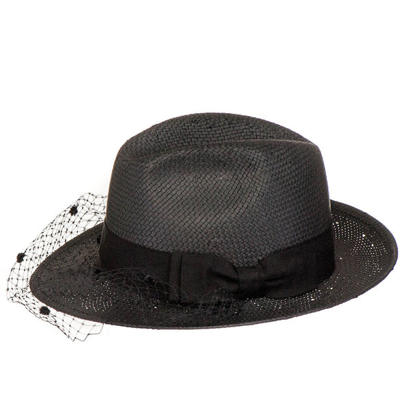 Black Trilby Sun Hat with Veil