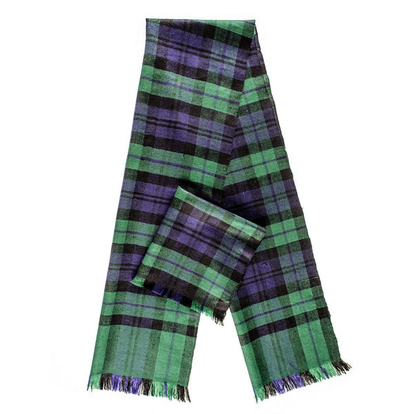 Black Watch Tartan Superfine Cashmere Cravat Scarf Set