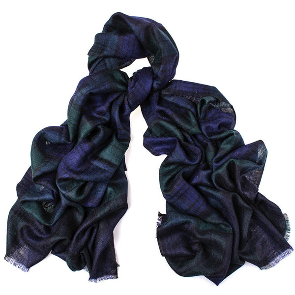 Oversized Black Watch Tartan Cashmere Scarf