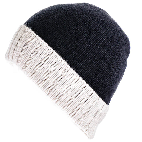 Black and Ivory Cashmere Beanie