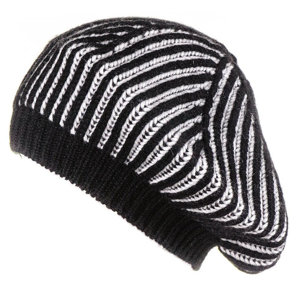 Black and Platinum Cashmere Beret
