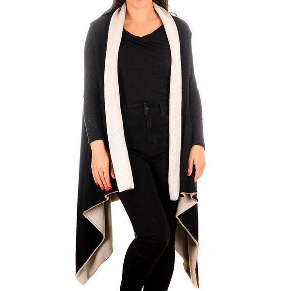 Black and Ivory Reversible Sleeveless Cashmere Blend Cape