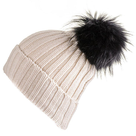 Cream Cashmere Beanie with Black Fur Pom Pom