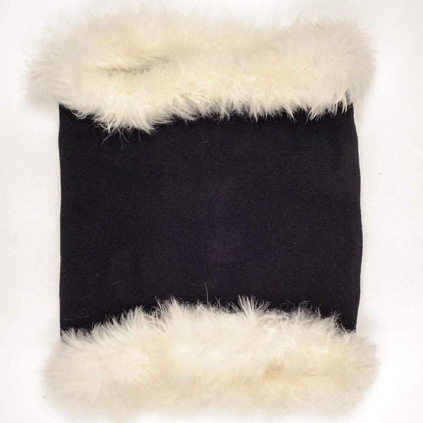Black Cashmere and Wool Snood with White Cashmere Fur