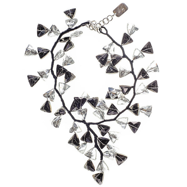 Black and White Smokey Quartz Crystal Waterfall Necklace