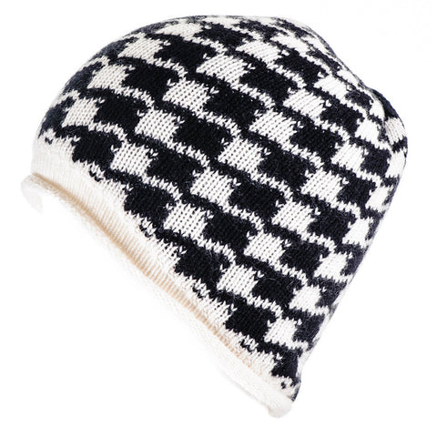 Black and Ivory Houndstooth Cashmere Beanie
