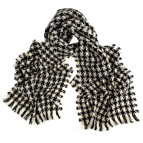 Black and Ivory Houndstooth Cashmere Scarf