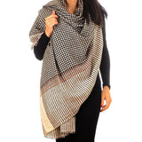Black and Ivory Houndstooth Cashmere Ring Shawl