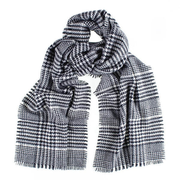 Houndstooth Check Cashmere Scarf