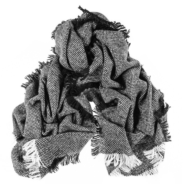 Black and White Large Fringed Cashmere Scarf