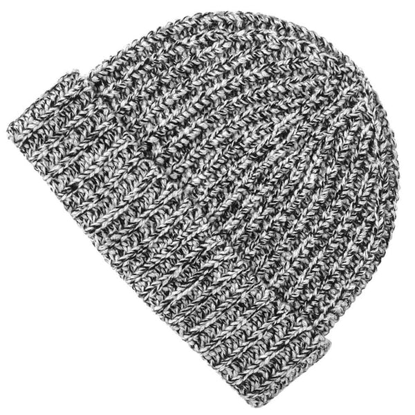 Black and White Marl Chunky Cashmere Beanie Hat