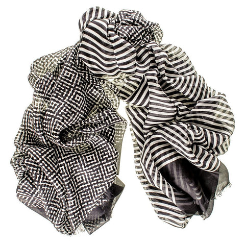 Black and White Oversize Superfine Silk Shawl