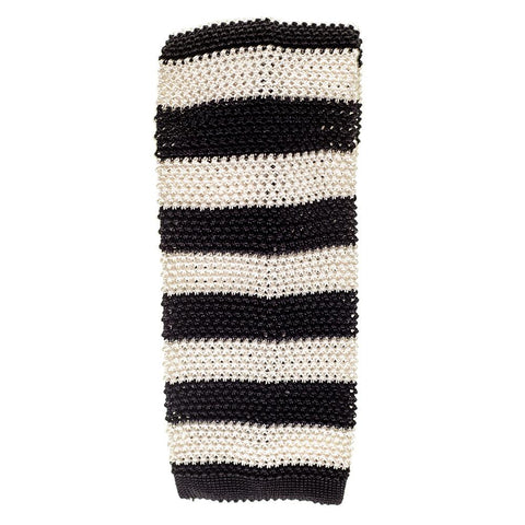 Black and White Stripe Knitted Silk Tie
