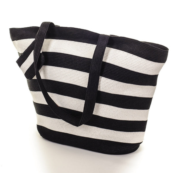 Black and White Striped Beach Bag