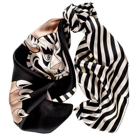 Black, White and Biscuit Tiger Print Silk Scarf