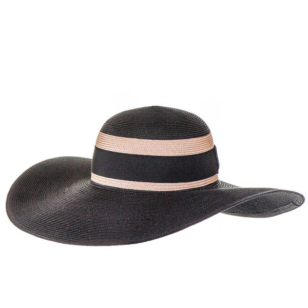 Black and Sand Wide Brimmed Hat