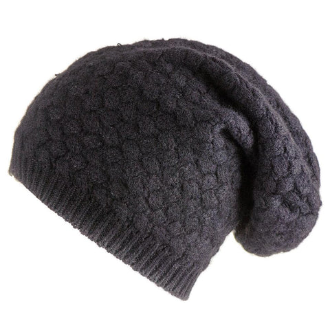 Black Basketweave Cashmere Slouch Beanie