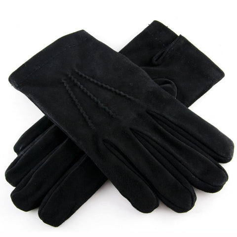 Black Suede Gloves with Cashmere Lining