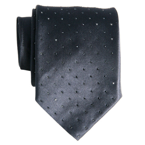 Black Swarovski Crystal Studded Silk Tie - SOLD OUT