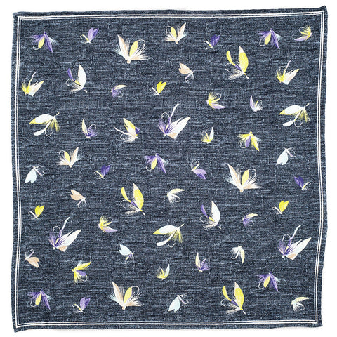 Grey Fishing Flies Printed Cotton Pocket Square