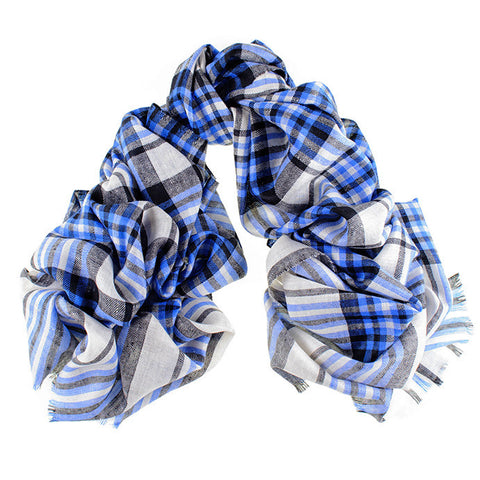 Black, Blue and Cream Oversized Check Cashmere Scarf