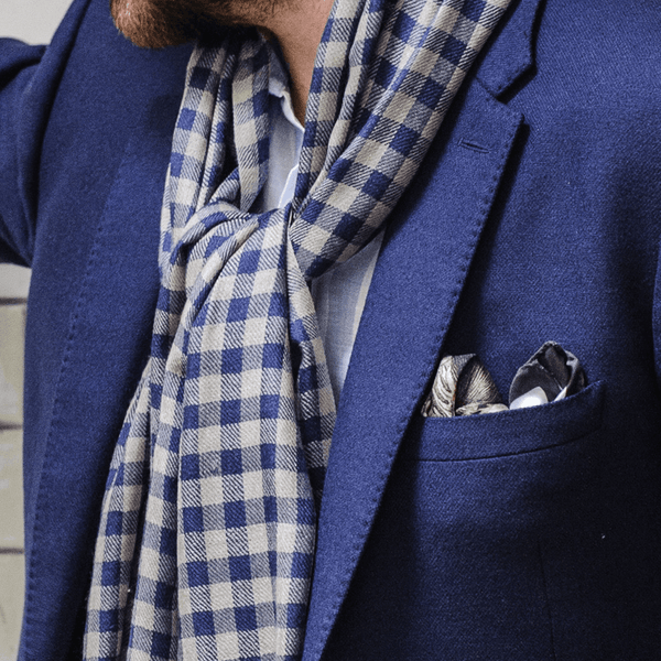 Blue And Brown Check Merino Wool And Silk Scarf Black Co Uk