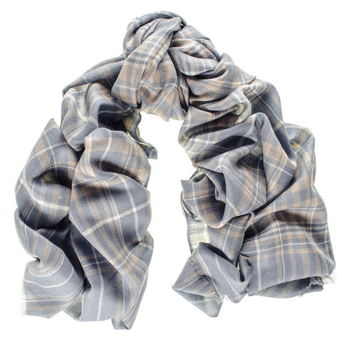 Albion Check Merino Wool and Silk Scarf